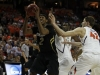 Xavier Johnson catches a rebound and prepairs to shoot the ball. (Amy Leder/CU Independent)