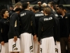 The CU men's basketball team huddles prior to the start of the game against Stanford on Thursday at the Coors Events Center. (Nate Bruzdzinski/CU Independent)
