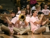 CU band trumpet players sit in a circle to play durring the supa dupa tuba cheer. (Kai Casey/CU Independent)