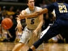 Guard Eli Stalzer passes the ball to a teammate in Sunday\'s win over California.  (Nate Bruzdzinski/CU Independent)