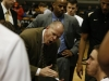 CU head coach Tad Boyle talks to his team during a timeout. (Amy Leder/CU Indepedent)