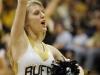 A cheerleader performs during a timeout. (Amy Leder/CU Independent)