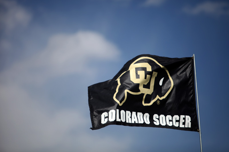 A Colorado soccer flag at Prentup Field. Under a new head coach the Buffs are undefeated through the first five games of the season. (CU Independent/Robert R. Denton)
