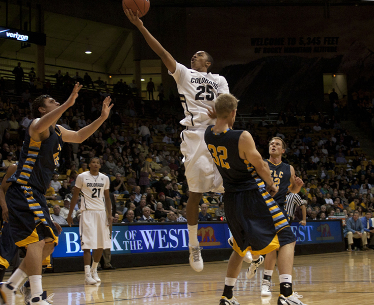 Spencer Dinwiddie, 25, goes up for a basket in the Nov. 10 loss to the Fort Lewis Skyhawks. The Buffs fell again to Wichita State in the Puerto Rico Shootout, 67-58. (CU Independent/Elaine Cromie)