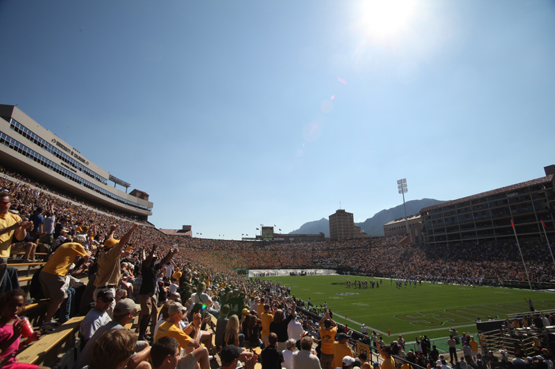 CU fans cheer at Folsom Field during the Sept. 10, 2011 home opener against UCLA. Folsom Field is widely known for it's zero-waste policy, which has successfully completed three consecutive years. (Robert R. Denton/CU Independent)