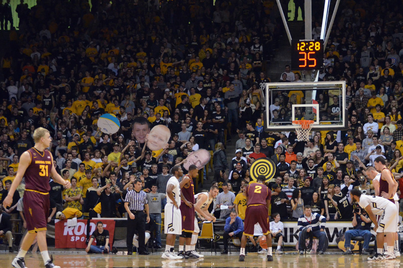 Arizona State's Chris Colvin attempts a free throw on Jan. 19 in front of the C Unit student section in this file photo. The CU fans had crafted signs to distract Sun Devils at the free throw line. (CU Independent File/Annie Rumbles)