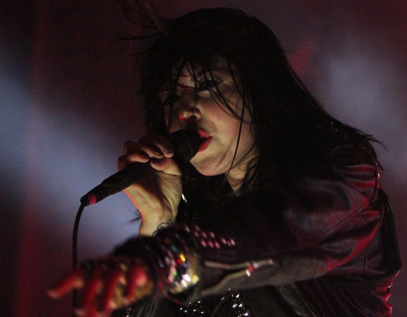 Alexis Krauss, lead singer of Sleigh Bells, performs for the crowd at the Ogden Theater on Friday, April 13th. (CU Independent/Kai Casey)