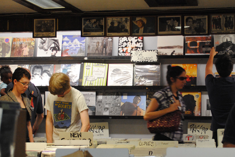 Shoppers browse through records at Albums on the Hill on Record Store Day. (Isa Jones/ CU Independent File)