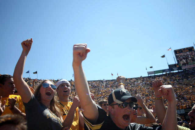 CU football fans cheer at the Sept. 10, 2011 home opener against UCLA. The Buffs beat Washington State Saturday after coming back from a 16 point deficit. (Robert R. Denton File/CU Independent)
