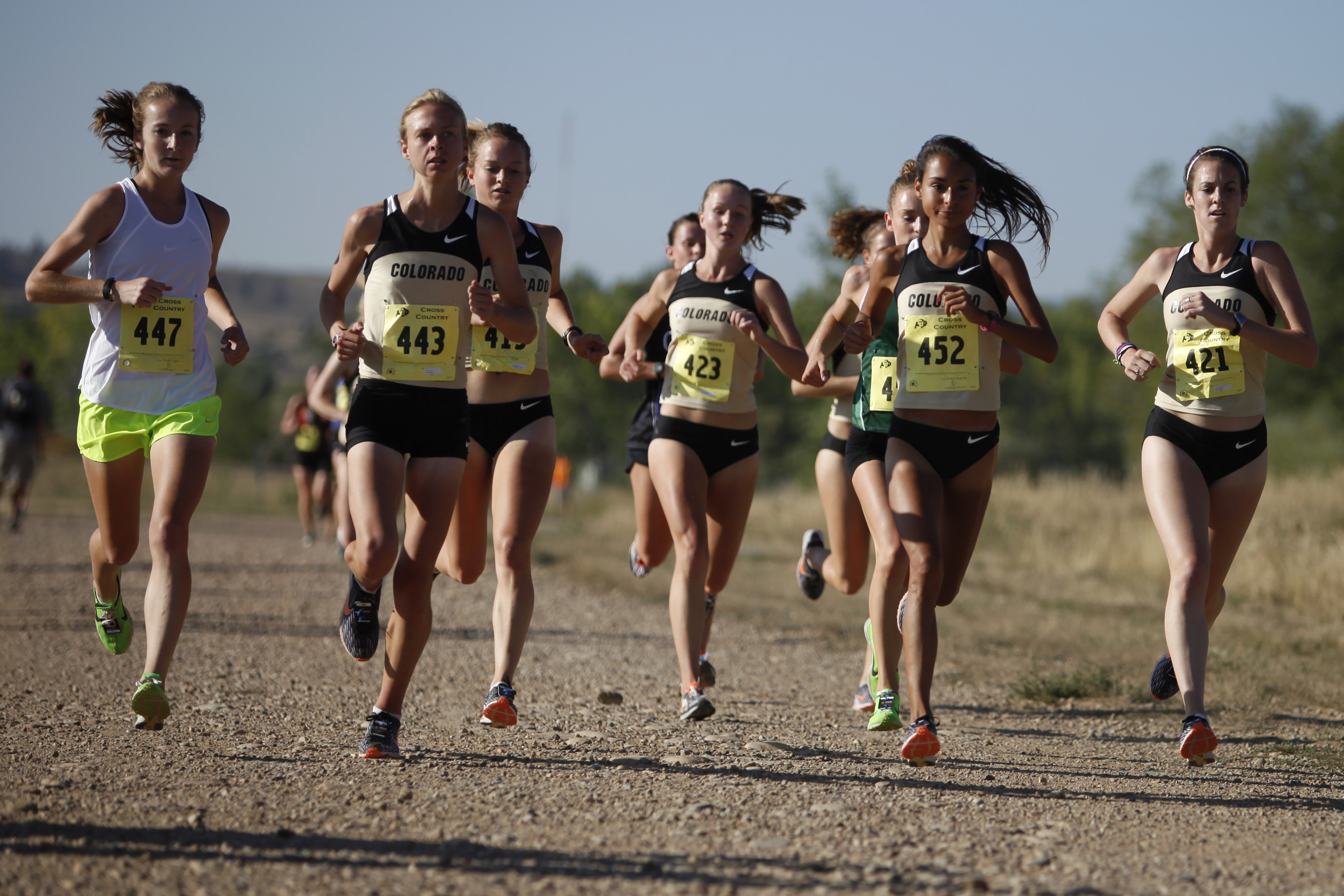 The lead group of women during the CU Cross Country Time Trials at CU Buffalo Ranch earlier this year. Last year, both CU men's and women's cross country teams won the Pac-12 Championship. (Robert R. Denton/CU Independent File)