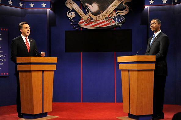 From left, Jason Sudeikis as Mitt Romney and Jay Pharoah as Barack Obama Oct. 6 on Saturday Night Live. (Courtesy Dana Edelson/NBC)