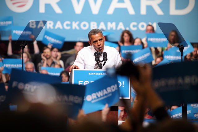 President Obama speaks last Thursday night at the Coors Event Center. (James Bradbury/CU Independent File)