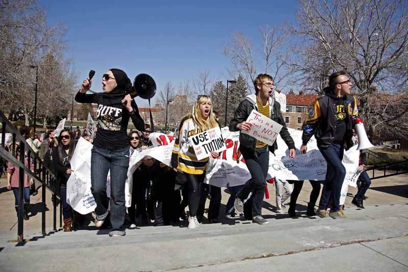 Students make their way to the Chancellor's office during a protest against tuition increase in this file photo from Mar. 8, 2012. (James Bradbury/CU Independent file)