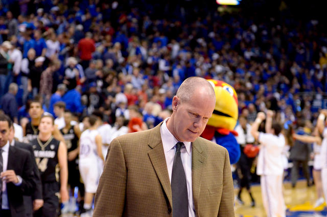 Head Coach Tad Boyle just after the Buffs road loss to Kansas at Allen Fieldhouse 54-90. (Andrew Kaczmarek/CU Independent)