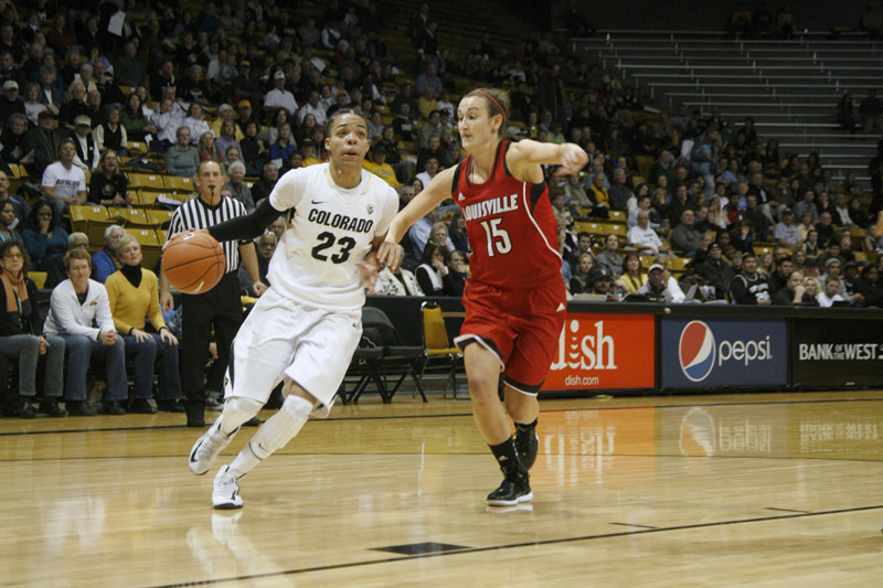 Senior Chucky Jeffery looks toward the basket as she makes her way across the court during the Buffs' game against Stanford. (Amy Leder/CU Independent)