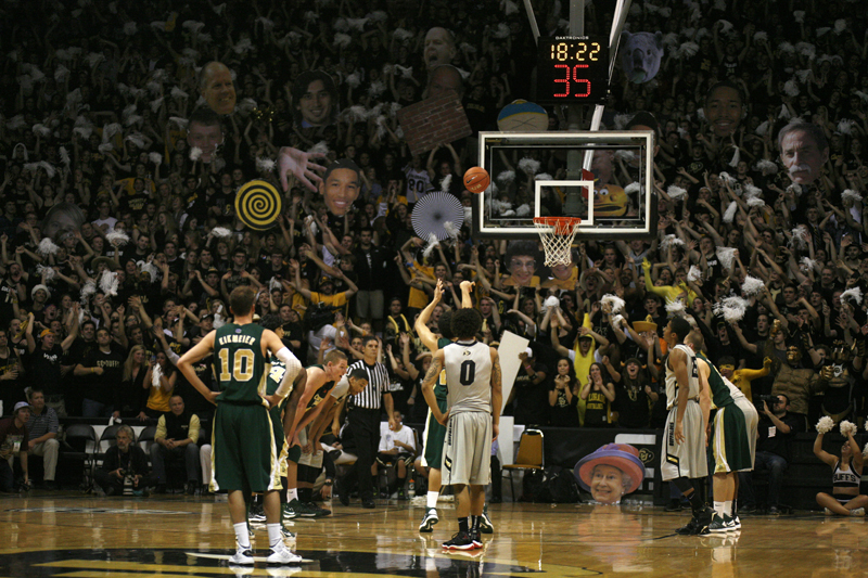 The CUnit tries to distract Dorian Green of CSU during his free throw attempt in the game on Wednesday, Dec. 5, 2012 at the Coors Events Center. The CUnit was recently named a finalist for the Naismith Student Section of the Year. (Kai Casey/CU Independent)
