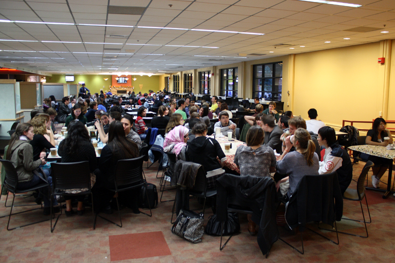 Students eat, socialize and study in the UMC on Friday, Dec. 7, 2012. (Rachel Ramberg/CU Independent File)