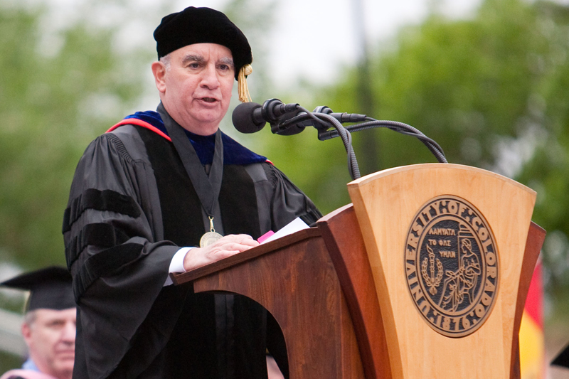 Chancellor Philip P. DiStefano speaking at Spring Commencement May  11, 2012. (James Bradbury/CU Independent File)