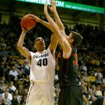 Sophomore forward Josh Scott goes up for a shot during the second half of Colorado's 83-62 win over USC, Saturday, Jan. 18, 2014. (James Bradbury/CU Independent File)
