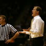 Oregon head coach Dana Altman argues a call with a referee. (Kai Casey/CU Independent)