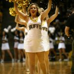 Colorado cheerleaders perform during a timeout. (Kai Casey/CU Independent)