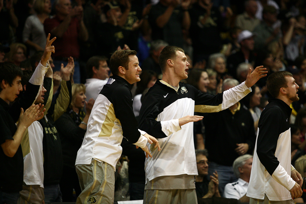 Colorado's Beau Gamble, left, and Ben Mills celebrate after Colorado started to pull away late in the game. (Kai Casey/CU Independent)