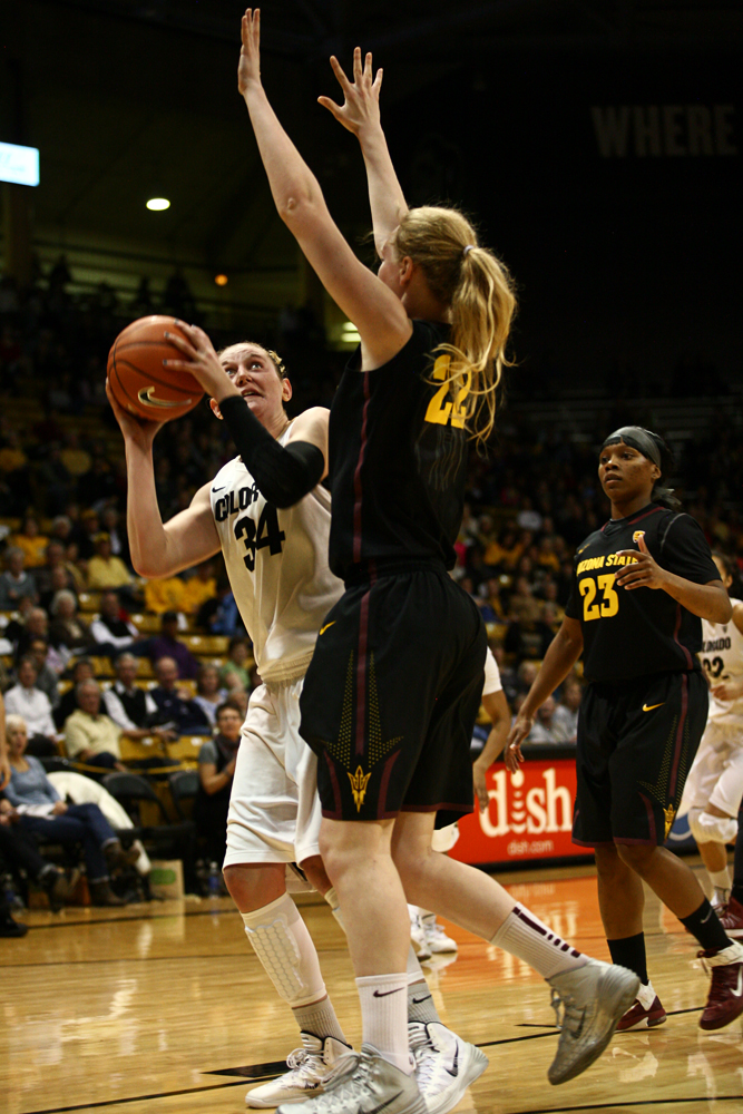 Colorado junior forward Jen Reese (34) looks to shoot as Arizona State's Quinn Dornstauder (22) defends in the second half. (Kai Casey/CU Independent)