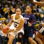 Freshman guard Haley Smith drives past an Arizona defender. (Nigel Amstock/CU Independent)