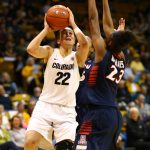 Freshman guard Haley Smith attempts a shot over Arizona's senior forward Erica Barnes. (Nigel Amstock/CU Independent)