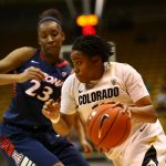 Senior guard Brittany Wilson drives past Arizona forward Erica Barnes in the second half. (Nigel Amstock/CU Independent)