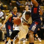 Senior guard, Ashley Wilson drives toward the basket past an Arizona defender. (Nigel Amstock/CU Independent)