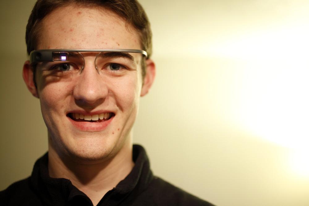 Senior journalism major Rob Denton with Google Glass. (Audrey Lavender/CU Independent)