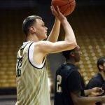 Colorado senior center Ben Mills (32) shoots a three-pointer during practice on Friday. (Kai Casey/CU Independent)