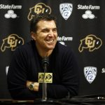 Rece Davis, the anchor of ESPN's College GameDay, laughs while addressing the media during a press conference in media room of the Coors Events Center. Davis said the Buffs can only play themselves out of the tournament, they don't need to do any more to get in. (Kai Casey/CU Independent)