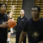 Colorado head coach Tad Boyle watches his team during practice. (Kai Casey/CU Independent)