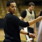Rodney Billups, Colorado assistant coach, positions some players during practice. (Kai Casey/CU Independent)