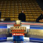 Colorado freshman basketball players Tre'Shaun Fletcher, left, and George King joke around on the ESPN College GameDay set. (Kai Casey/CU Independent)