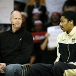 Colorado junior guard Spencer Dinwiddie, right, answers a question from Rece Davis (not pictured) while head coach Tad Boyle looks on during the ESPN College GameDay broadcast at the Coors Events Center, Saturday, Feb. 22, 2014, in Boulder, Colo. (Kai Casey/CU Independent)