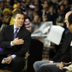 GameDay anchor Rece Davis, left, interviews Colorado head coach Tad Boyle, center, and Colorado junior guard Spencer Dinwiddie during the ESPN College GameDay broadcast at the Coors Events Center, Saturday, Feb. 22, 2014, in Boulder, Colo. (Kai Casey/CU Independent)