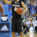 Colorado Guard Askia Booker calls a play late in the first half at Pauley Pavilion. (Nigel Amstock/CU Independent)