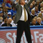 Colorado Head Coach Tad Boyle calls a play at Pauley Pavilion. (Nigel Amstock/CU Independent)