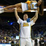 Bruin Cheerleaders strike a pose in the second half at Pauley Pavilion. (Nigel Amstock/CU Independent)