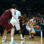 Askia Booker searches for a driving lane against Arizona St. (Matt Sisneros/CU Independent)