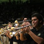 The Buff Basketball Band starts off the game with a performance. (Allie Greenwood/CU Independent)