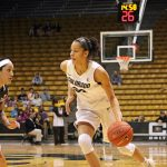 Colorado sophomore Arielle Roberson heads down the court. Roberson scored nine of the team's 77 points. (Maddie Shumway/CU Independent)