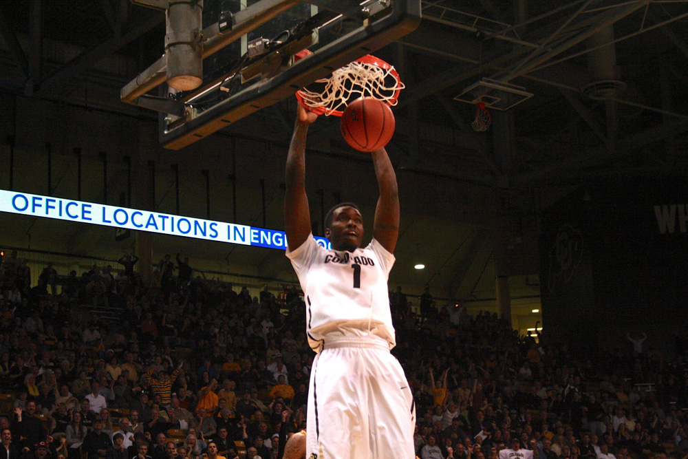 Colorado's Wesley Gordon (1) dunks the ball in the first half against ASU. (Allie Greenwood/CU Independent)