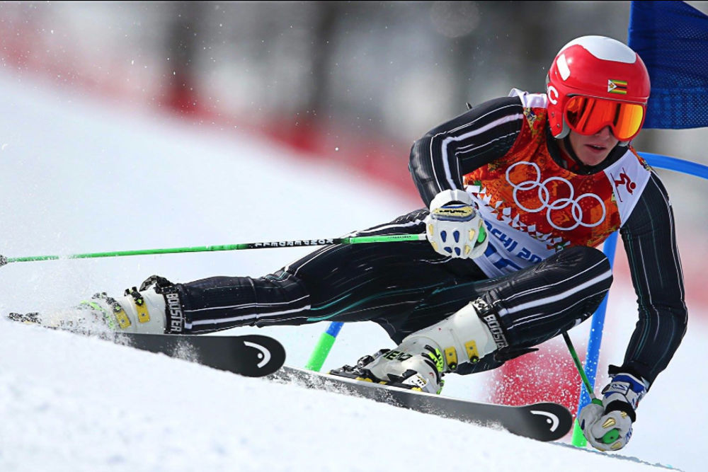 Luke Steyn compets for Zimbabwe in an alpine skiing event in the 2014 Winter Olympics in Sochi. Steyn was the first athlete from Zimbabwe to compete in the Winter Olympics. (Photo Courtesy of Luke Steyn)