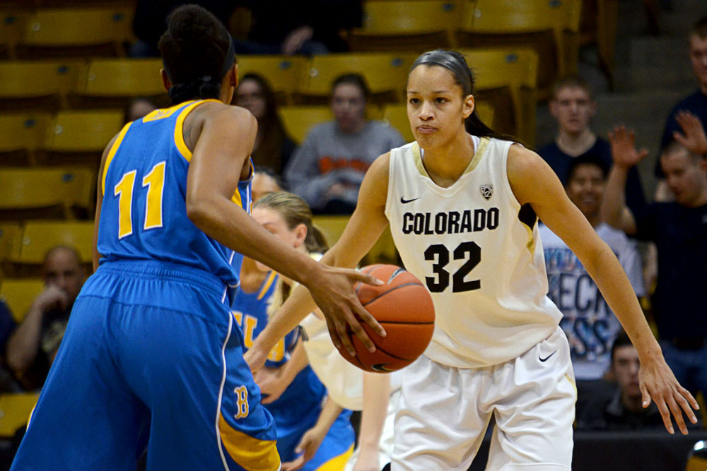 University of Colorado forward Arielle Roberson (32) plays defense against UCLA forward Atonye Nyingifa (11) at Friday night's game. (Elizabeth Rodriguez/ CU Independent)