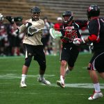 Colorado's Austin Colaizzi (49) tries to score a goal as time expired in the first half during a men's club lacrosse game between No. 2 Colorado and Utah, Saturday, April 12, 2014, at Folsom Field in Boulder, Colo. (Kai Casey/CU Independent File)