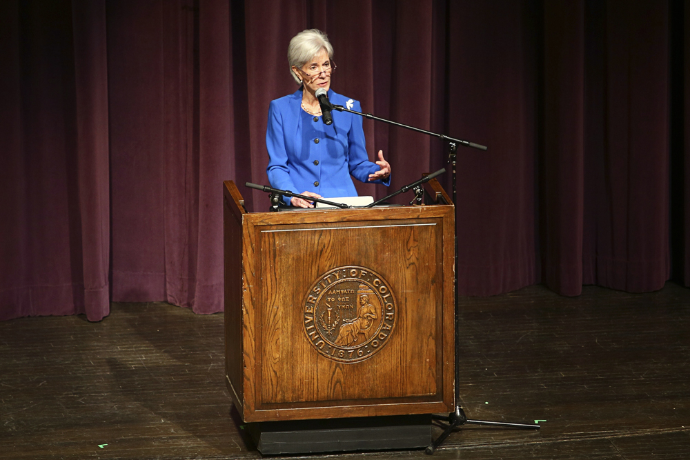 Kathleen Sebelius, the United States Secretary of Health of Human Services, addresses the crowd in Macky Auditorium at the 66th edition of the Conference of World Affairs at the University of Colorado Boulder. (Nigel Amstock/CU Independent)